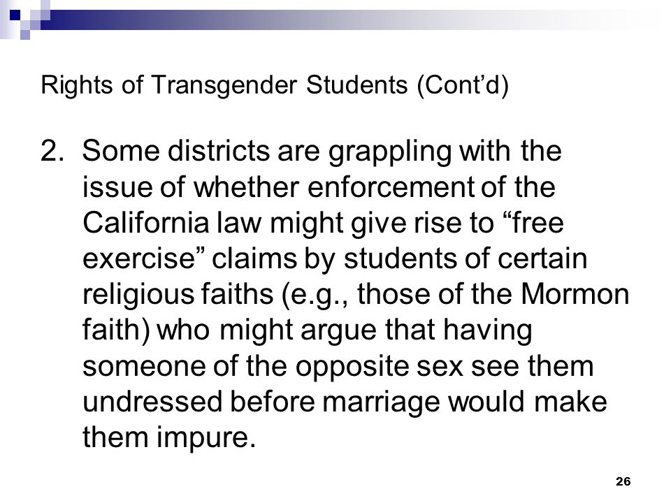 Rights of Transgender Students (Cont'd)