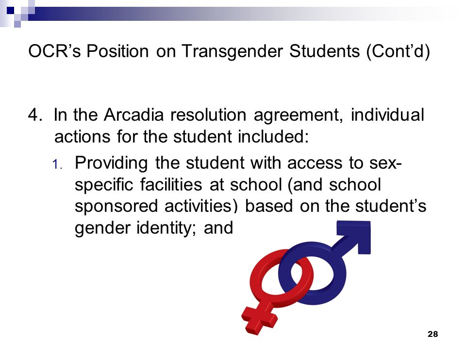 OCR's Position on Transgender Students (Cont'd)