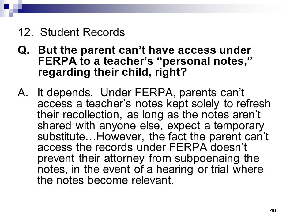 12. Student Records