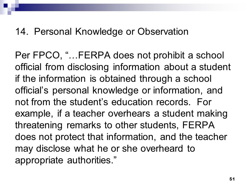 14. Personal Knowledge or Observation