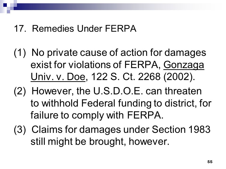 17. Remedies Under FERPA