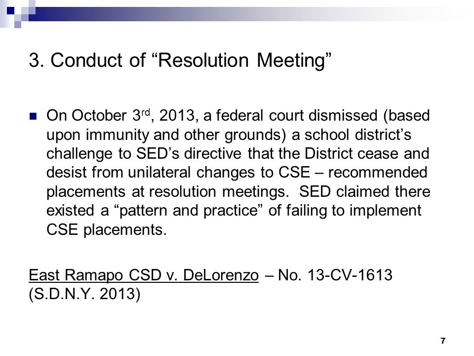 3. Conduct of Resolution Meeting