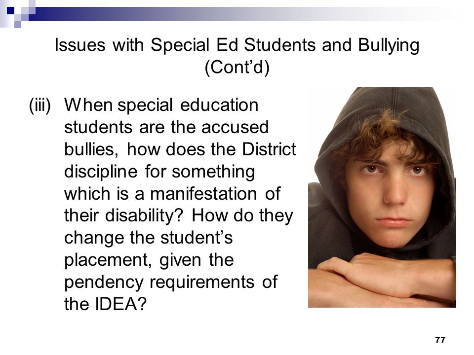 Issues with Special Ed Students and Bullying (Cont'd)