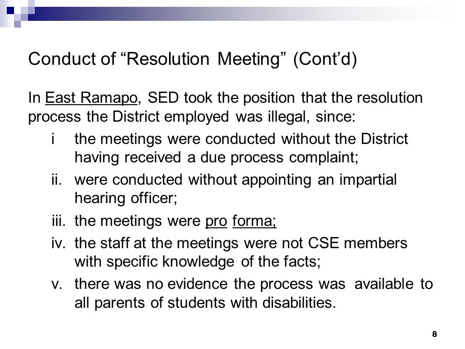 Conduct of Resolution Meeting (Cont'd)