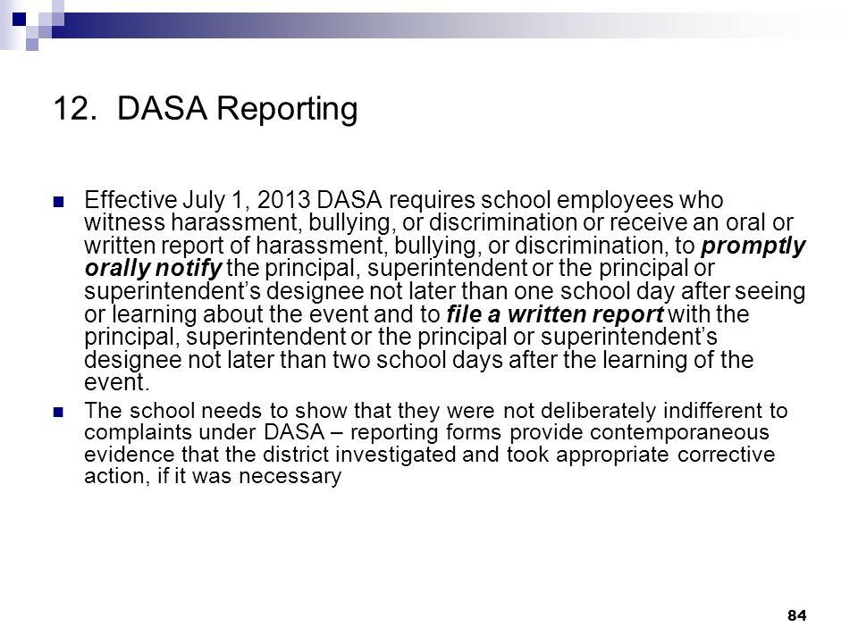 12. DASA Reporting