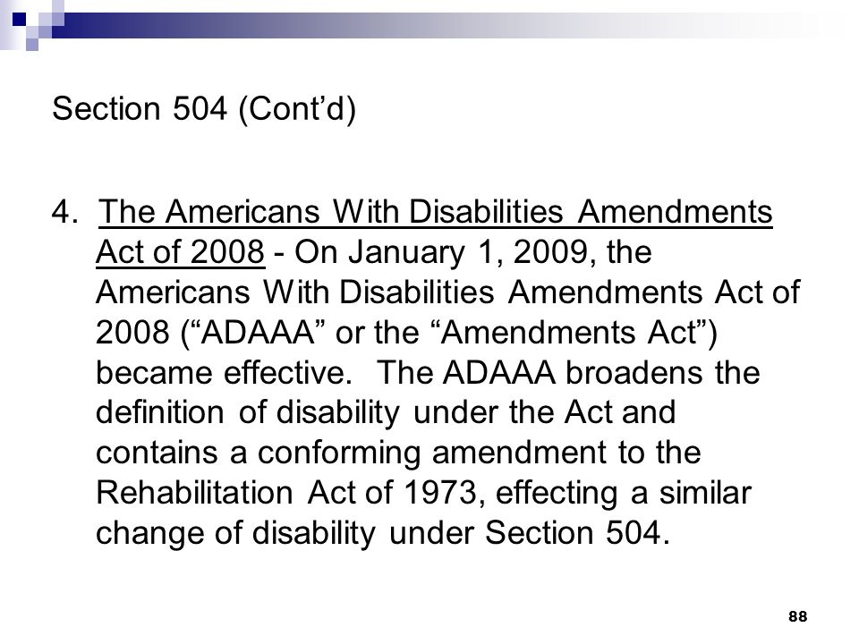 Section 504 (Cont'd)