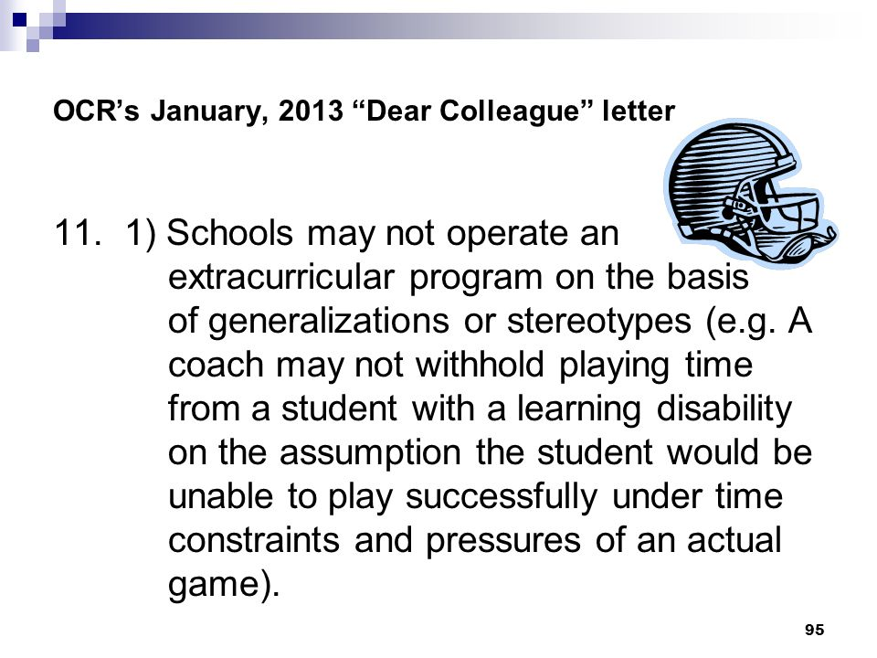 OCR's January, 2013 Dear Colleague letter
