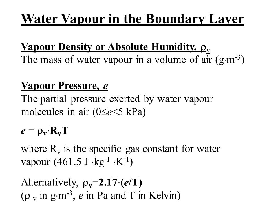 Water Vapour in the Boundary Layer