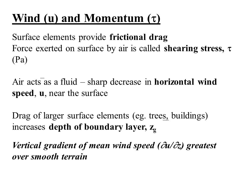 Wind (u) and Momentum ()