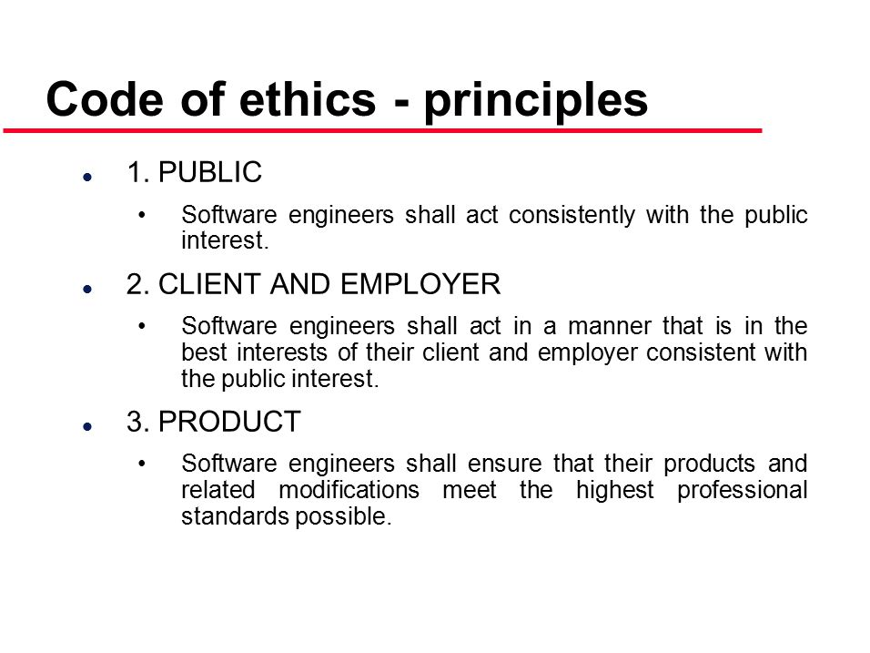 Code of ethics - principles