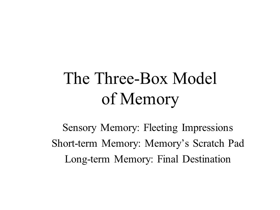 The Three-Box Model of Memory