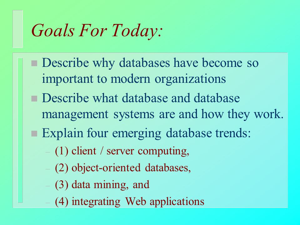 an introduction to the object oriented database management systems Object-oriented data model object-oriented data model table of contents  11 introduction object-oriented systems are currently receiving much attention and making great impacts  databases and database management systems this interest was perhaps fueled by.