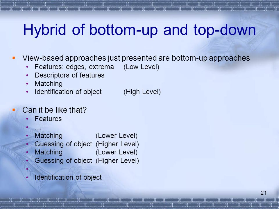Hybrid of bottom-up and top-down