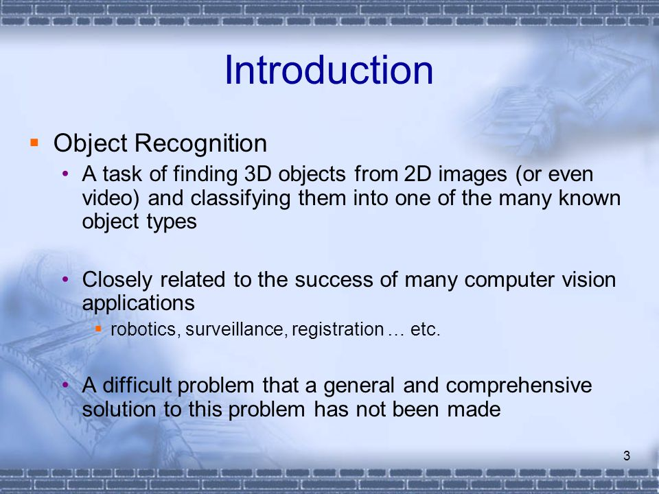 Introduction Object Recognition