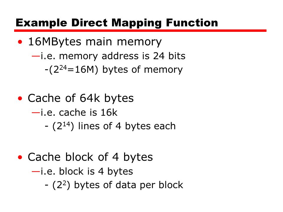 Example Direct Mapping Function