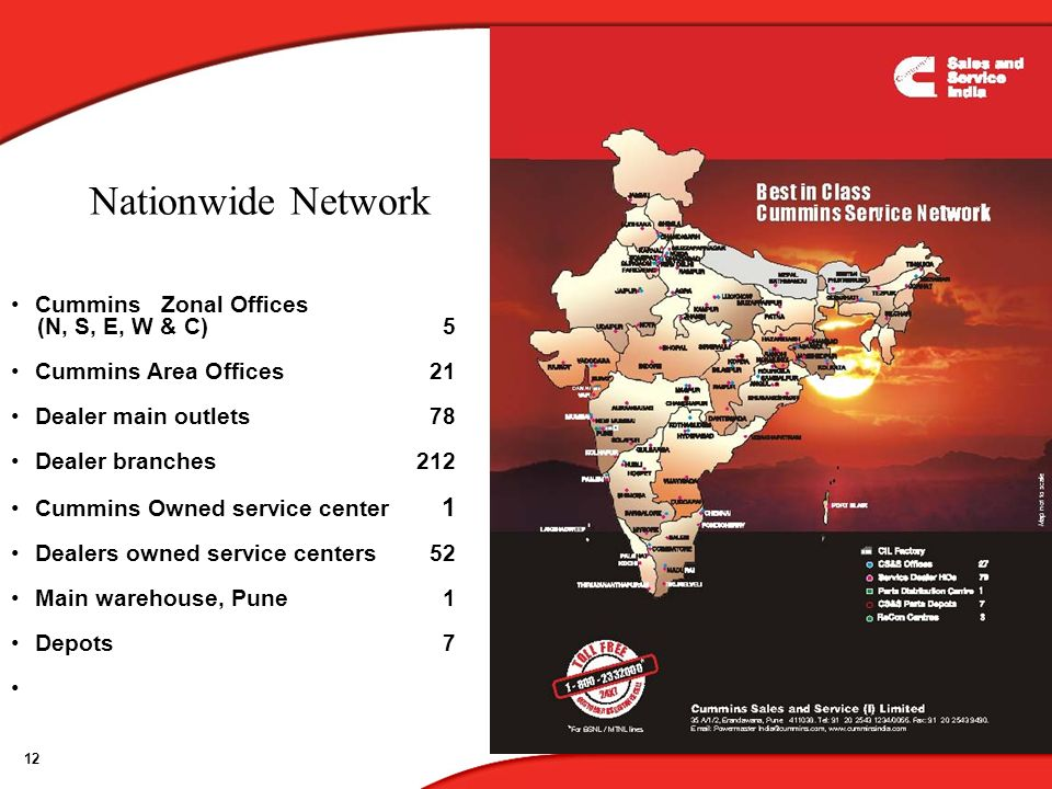 Nationwide Network Cummins Zonal Offices (N, S, E, W & C) 5