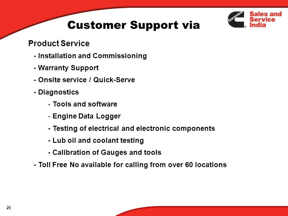 Customer Support via Product Service - Installation and Commissioning
