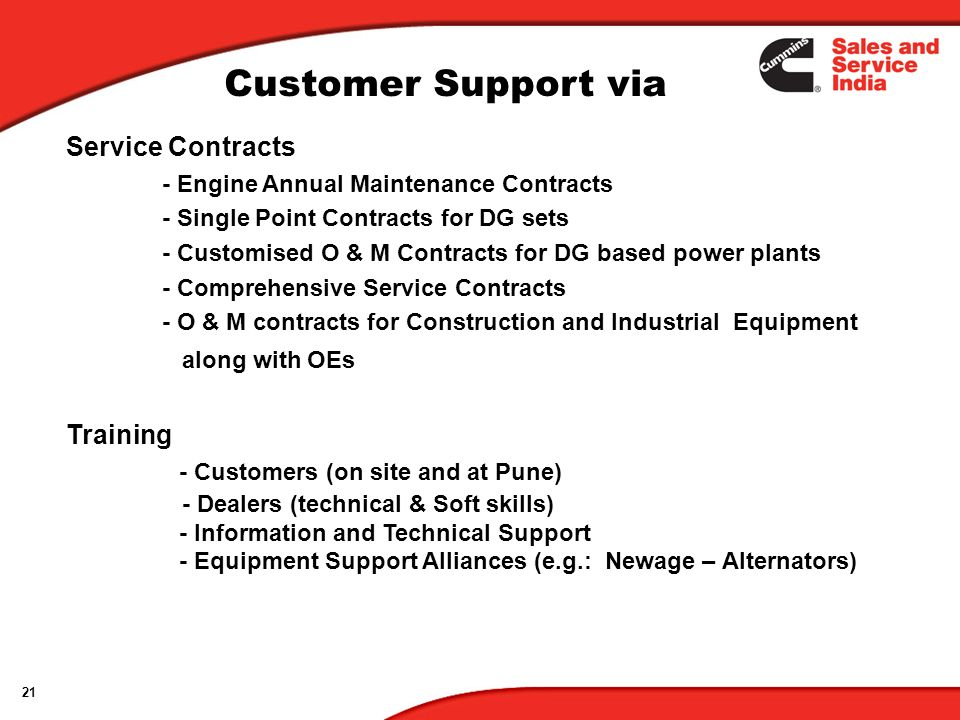 Customer Support via Service Contracts Training