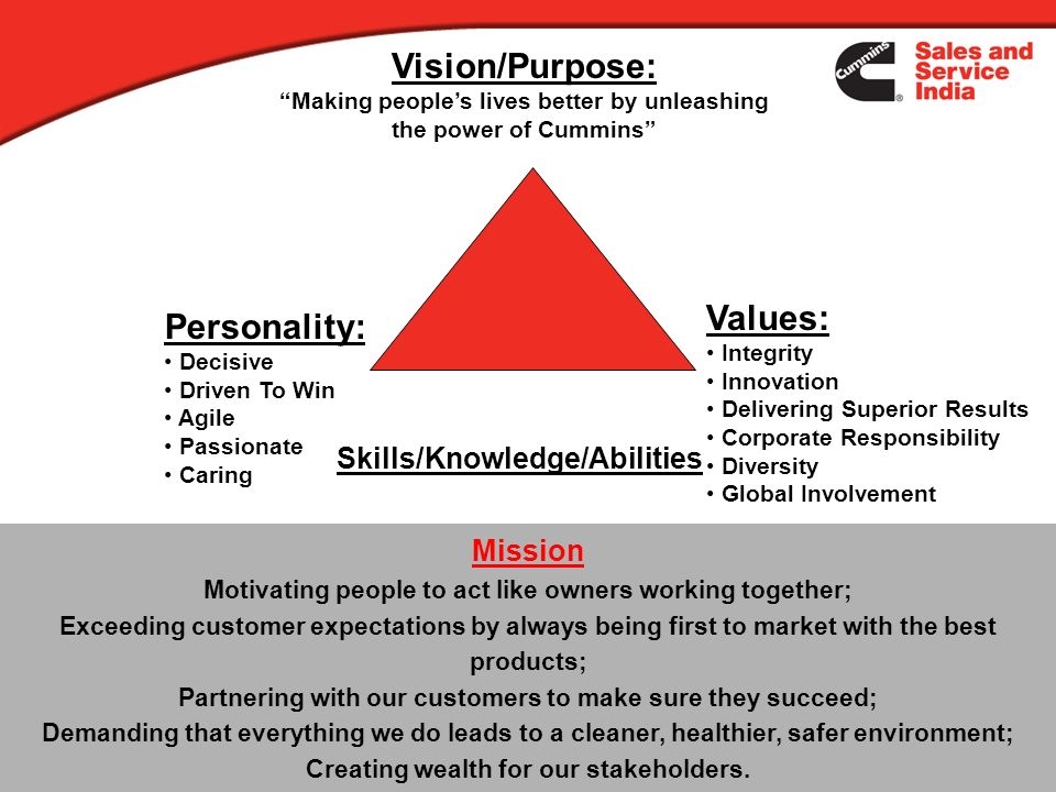 Vision/Purpose: Values: Personality: Skills/Knowledge/Abilities