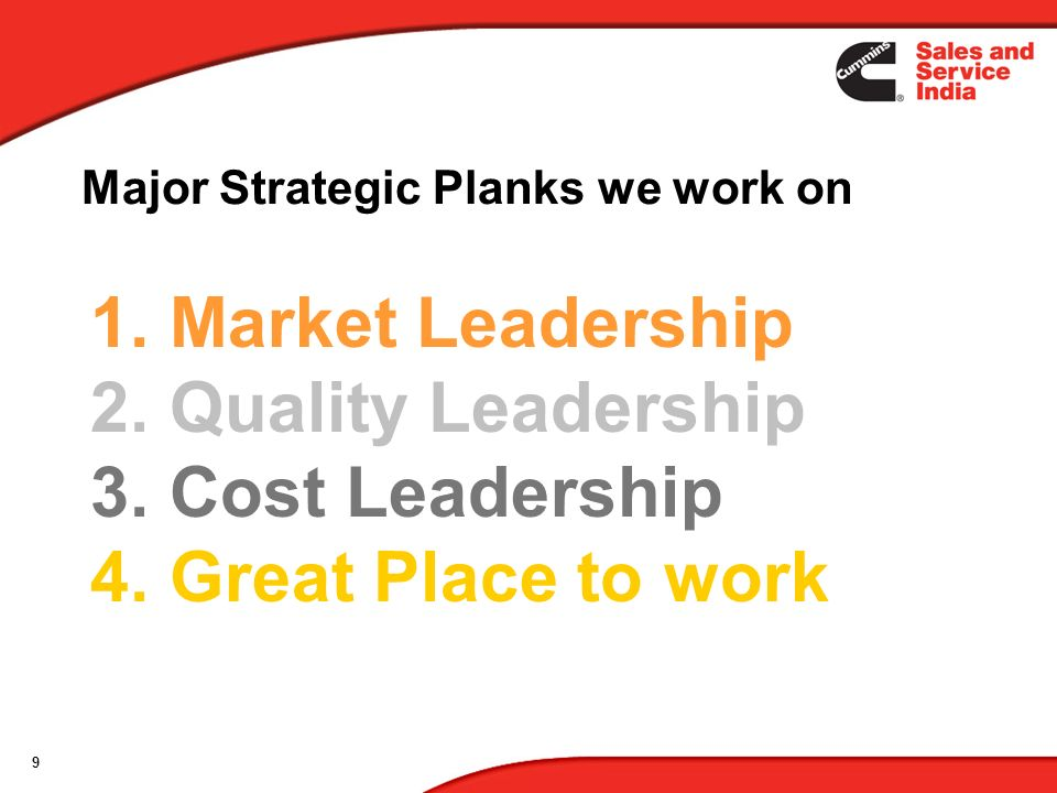 Market Leadership Quality Leadership Cost Leadership