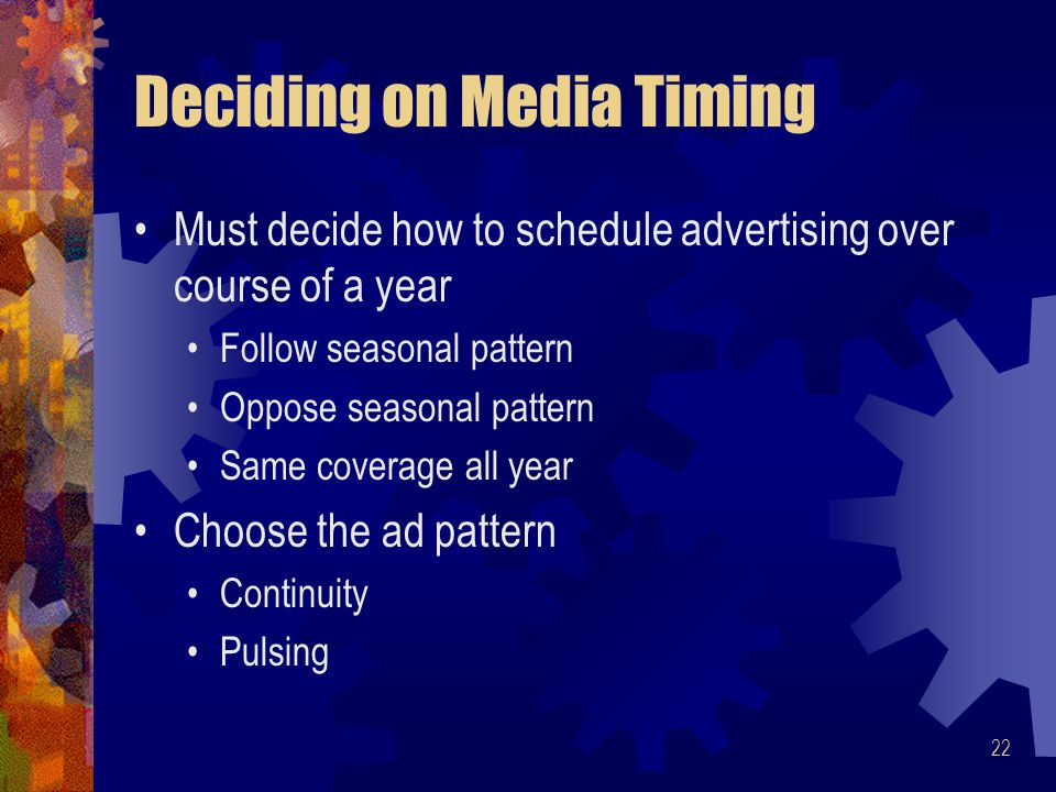 Deciding on Media Timing