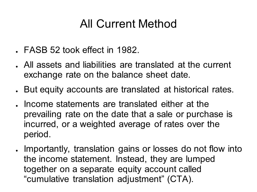 All Current Method FASB 52 took effect in 1982.