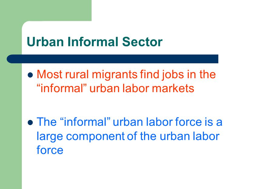 Problems of informal sectors in urban
