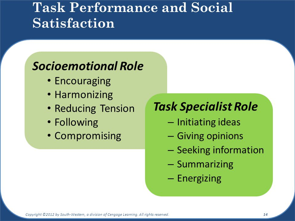 Task Performance and Social Satisfaction