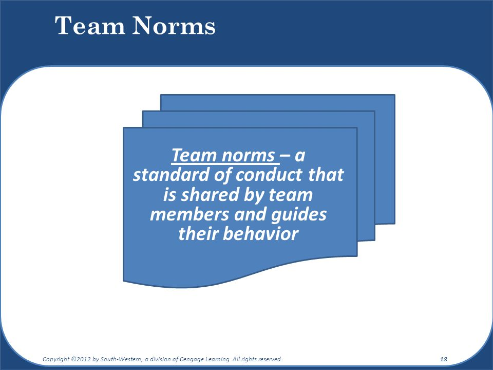 Team Norms Team norms – a standard of conduct that is shared by team members and guides their behavior.