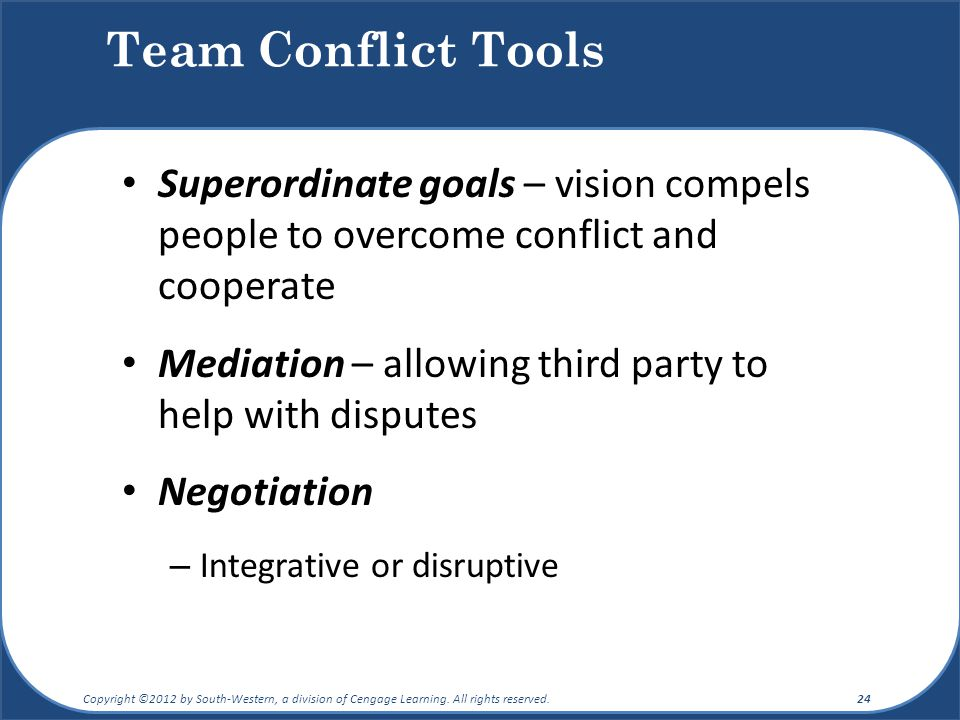 Team Conflict Tools Superordinate goals – vision compels people to overcome conflict and cooperate.