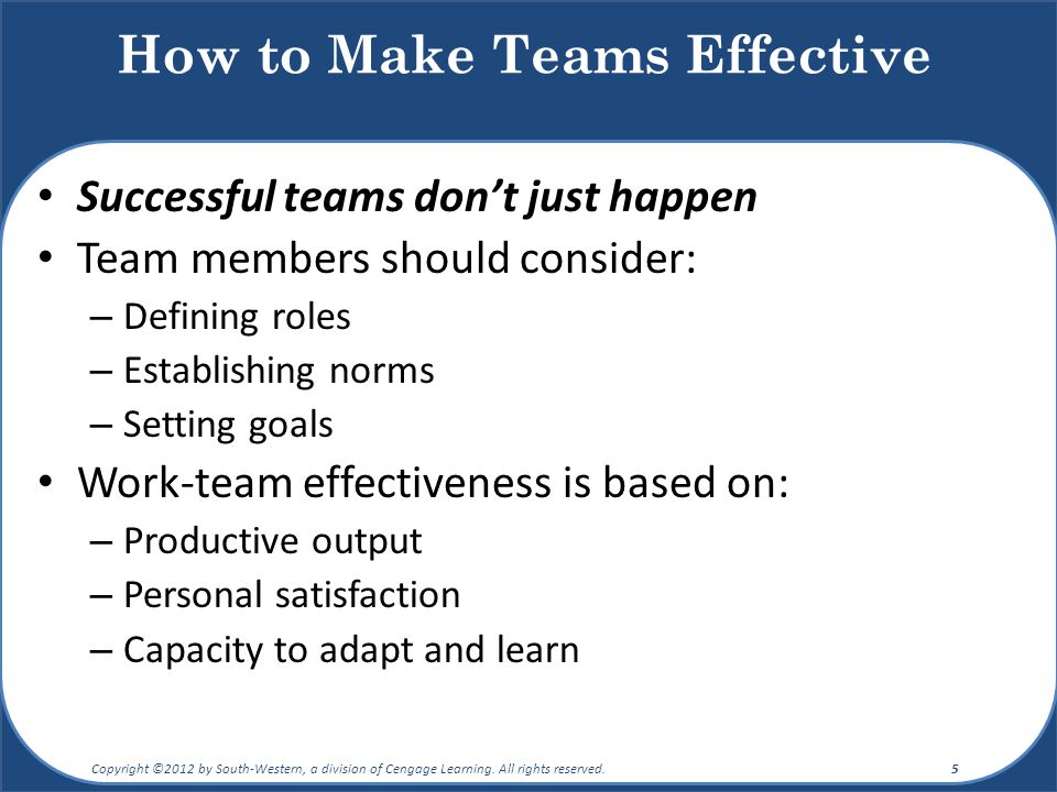 How to Make Teams Effective