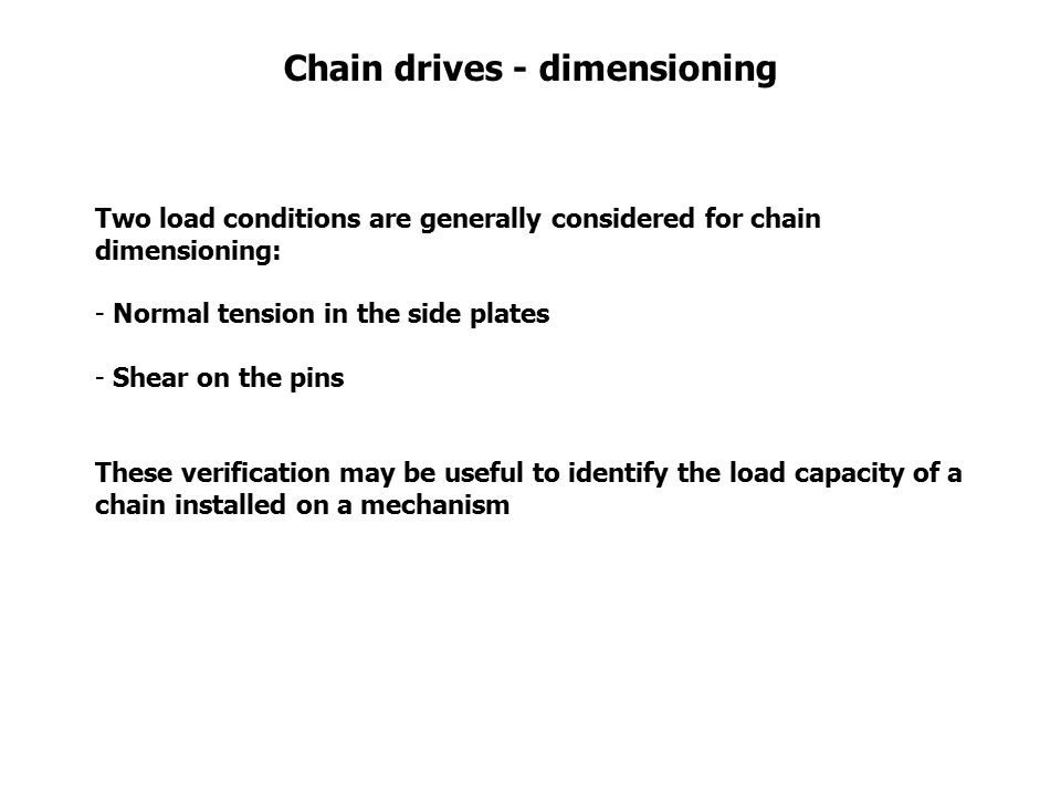 Chain drives - dimensioning