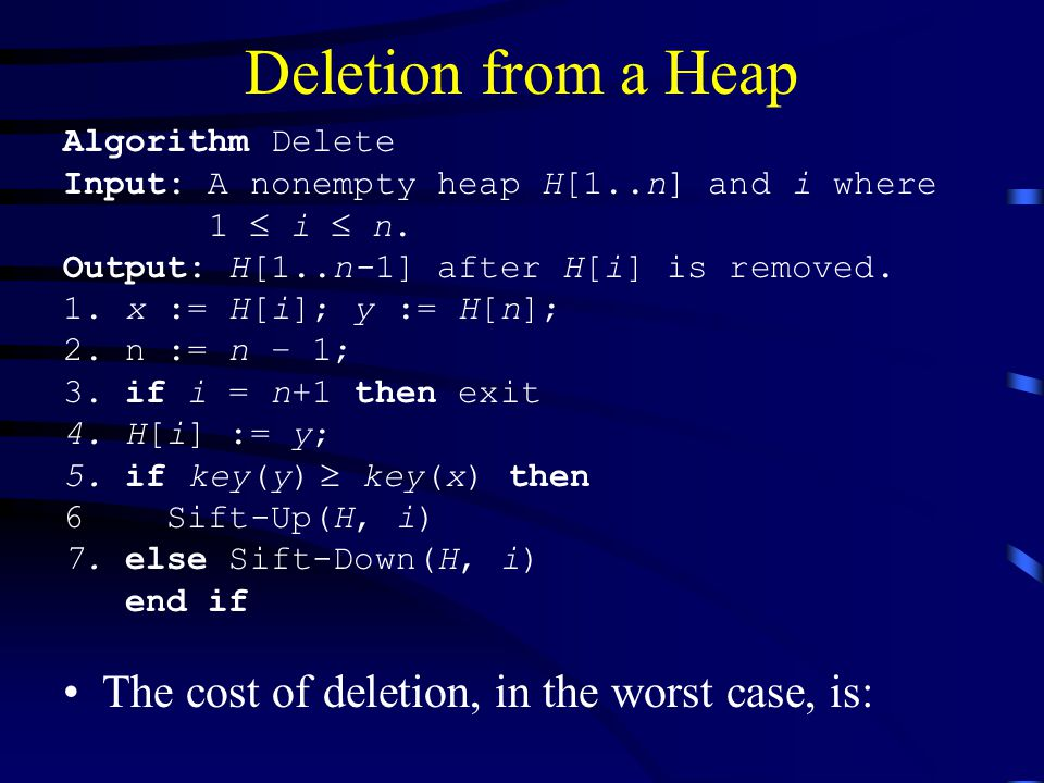 Deletion from a Heap The cost of deletion, in the worst case, is: