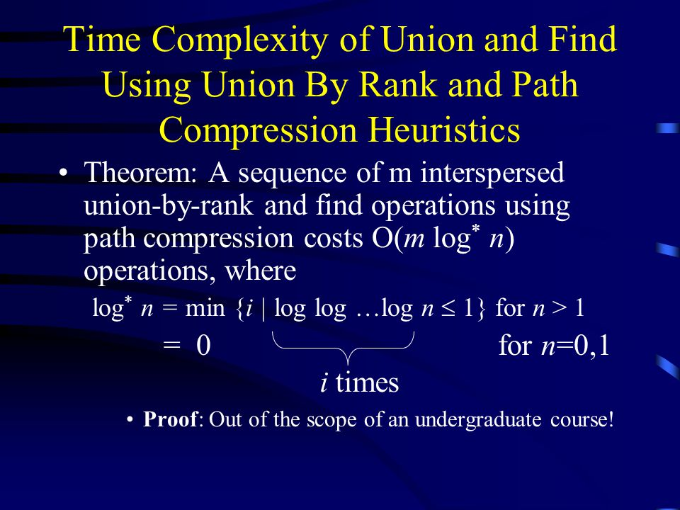Time Complexity of Union and Find Using Union By Rank and Path Compression Heuristics