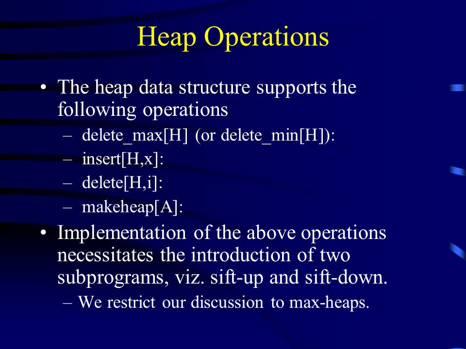 Heap Operations The heap data structure supports the following operations. delete_max[H] (or delete_min[H]):