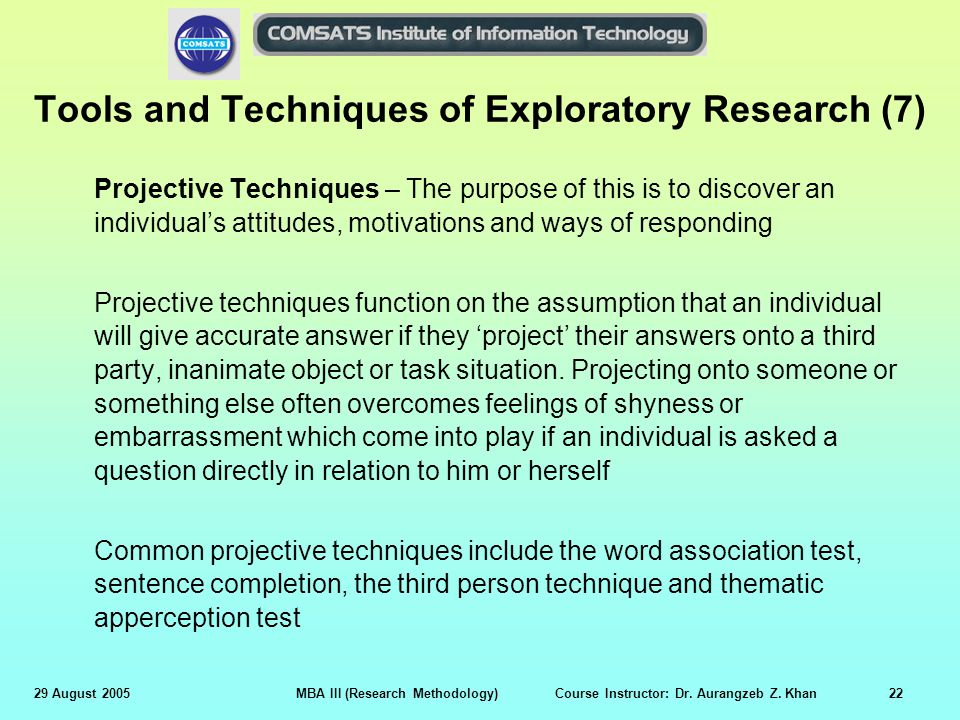 projective techniques in research methodology pdf