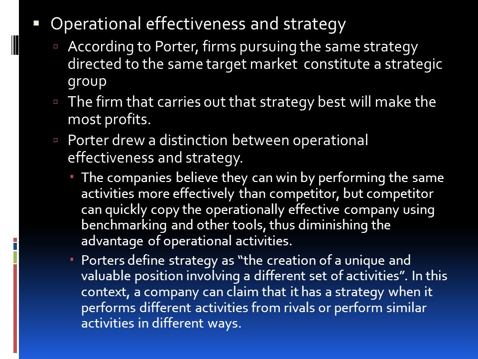 Operational effectiveness and strategy