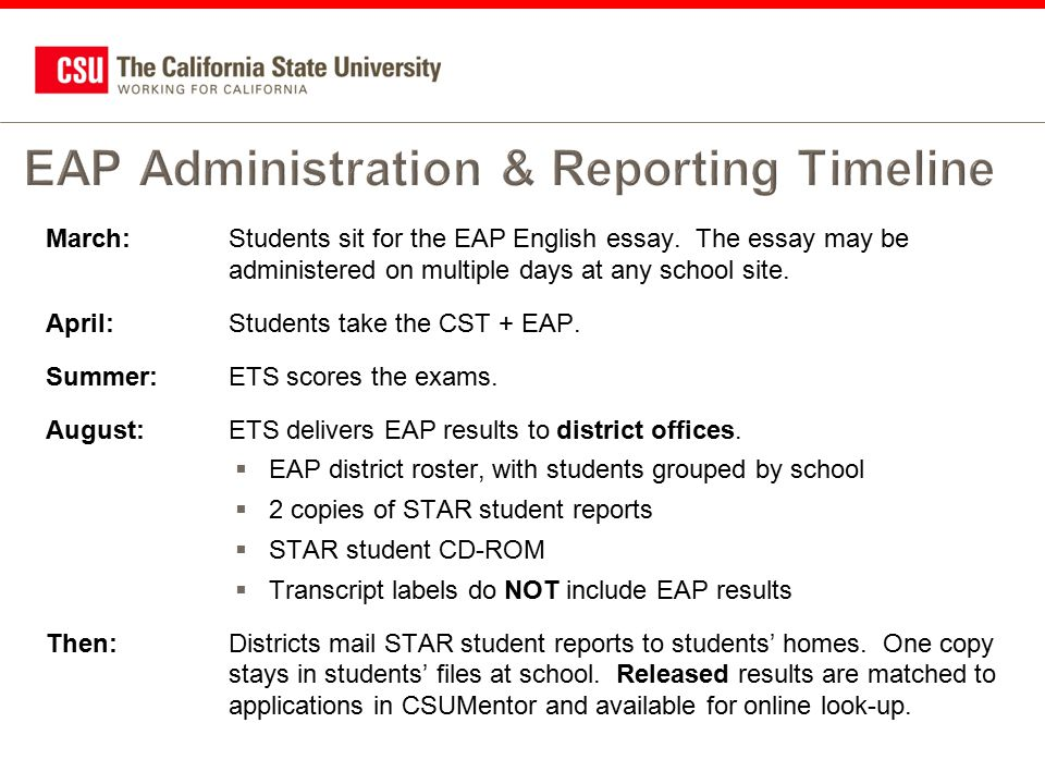 Early Assessment Program  Ppt Download  Eap Administration