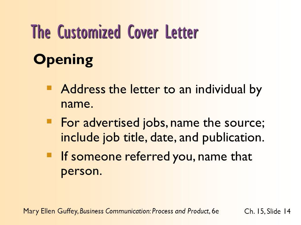 Customized Cover Letter