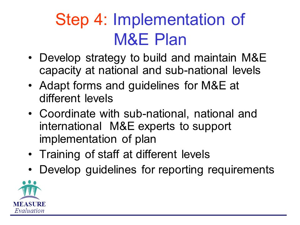 Step 4: Implementation of M&E Plan
