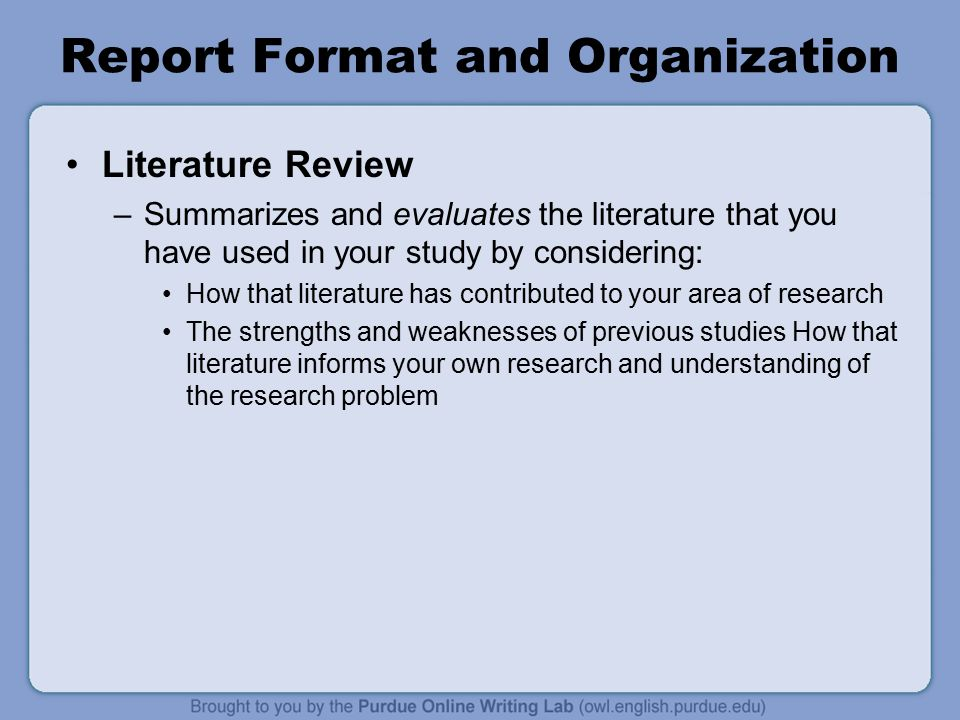 format in writing review of related literature