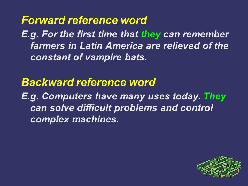 Forward reference word