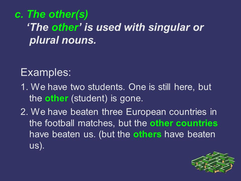 c. The other(s) 'The other' is used with singular or plural nouns.