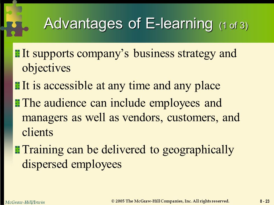 Advantages of E-learning (1 of 3)
