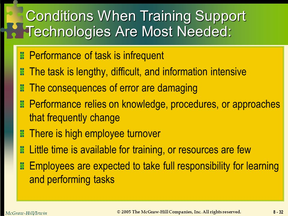 Conditions When Training Support Technologies Are Most Needed: