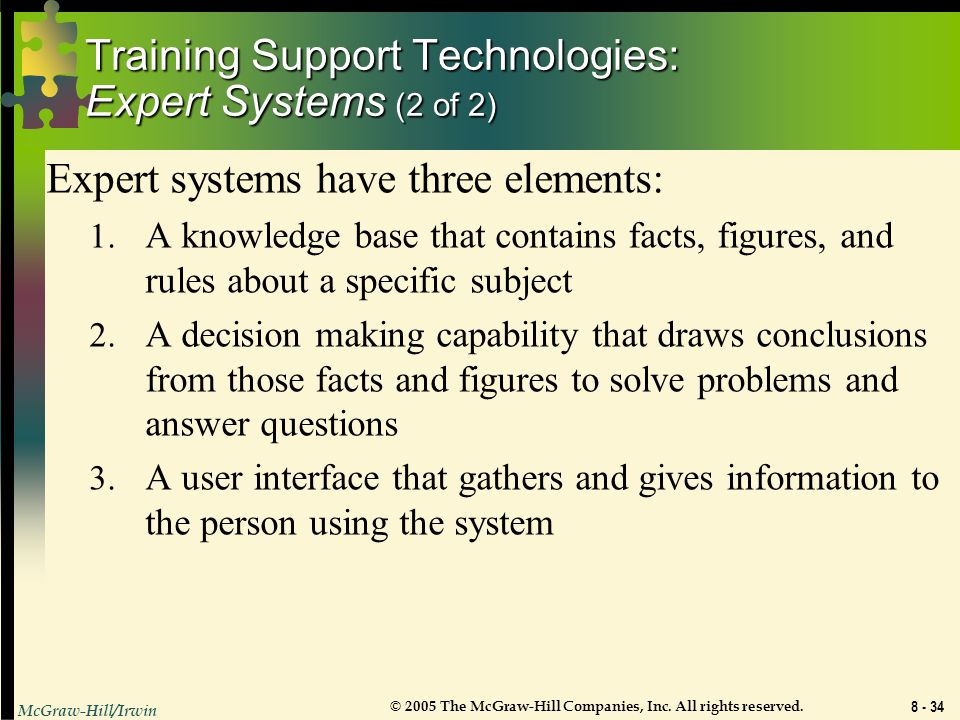 Training Support Technologies: Expert Systems (2 of 2)