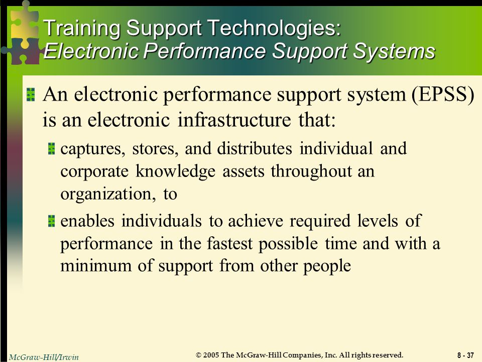 Training Support Technologies: Electronic Performance Support Systems