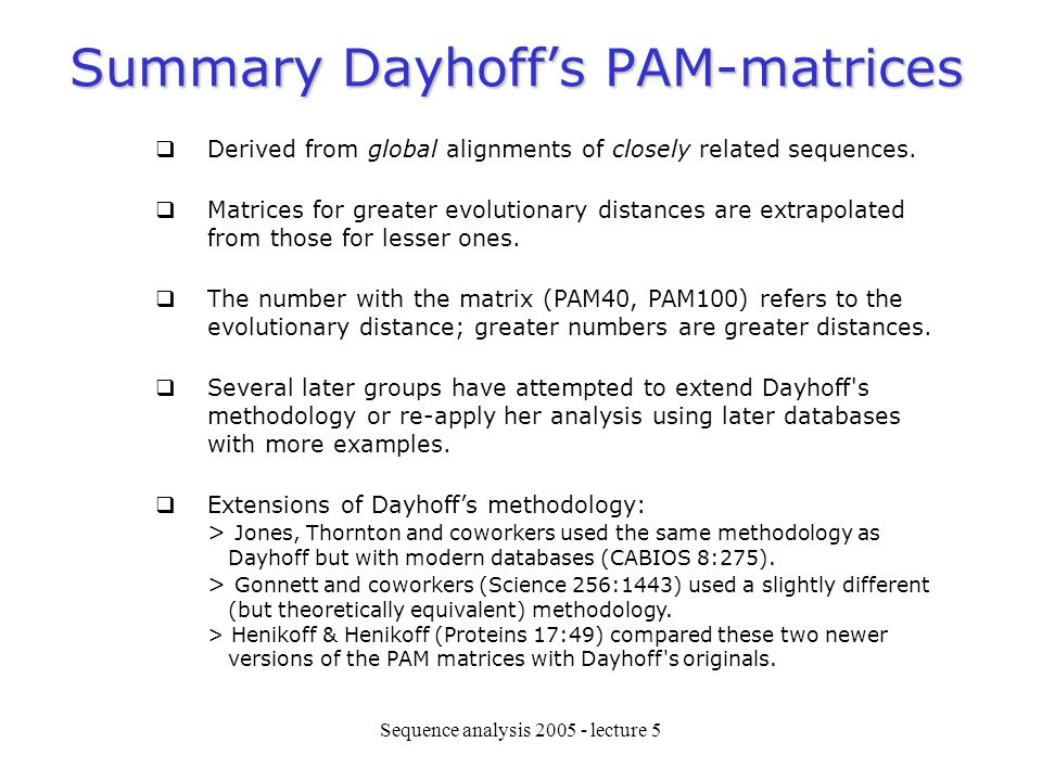 Summary Dayhoff's PAM-matrices
