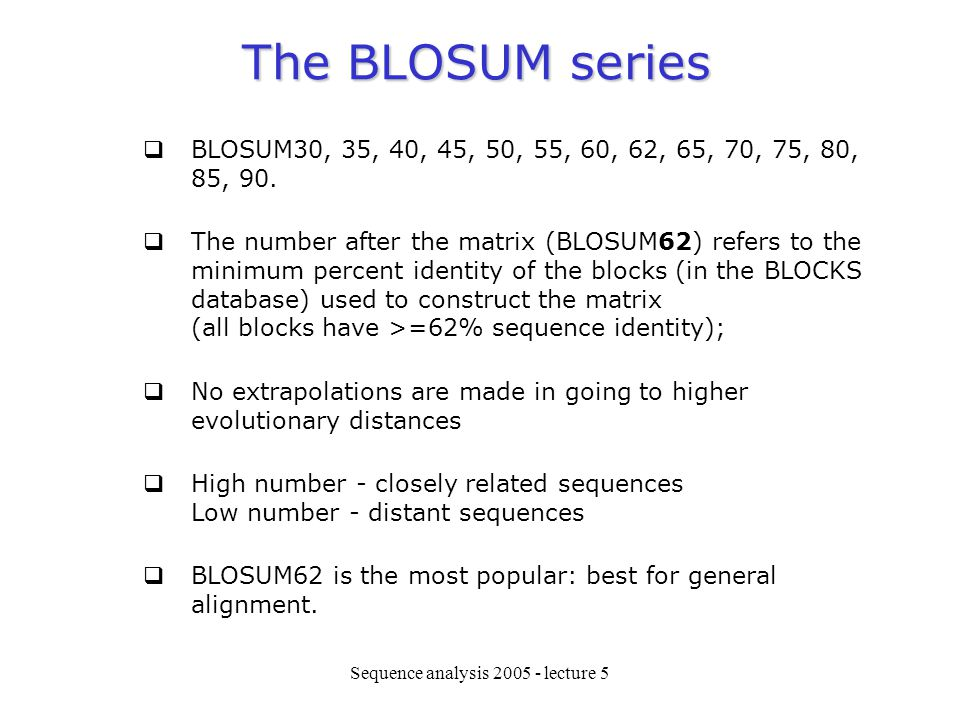 Sequence analysis lecture 5