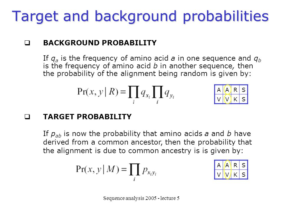 Target and background probabilities